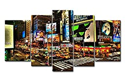 So Crazy Art® 5 Panel Wall Art Painting City Night Broadway Street Pictures Prints On Canvas City The Picture Decor Oil For Home Modern Decoration Print
