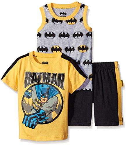 DC Comics Boys' 3 Piece Batman and Superman T-Shirt Muscle Tee and Shorts Set at Gotham City Store