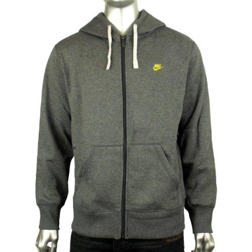 Mens Nike Grey Fleece Hoody Classic Full Zip Hoodie Hooded Sweater Top Size S
