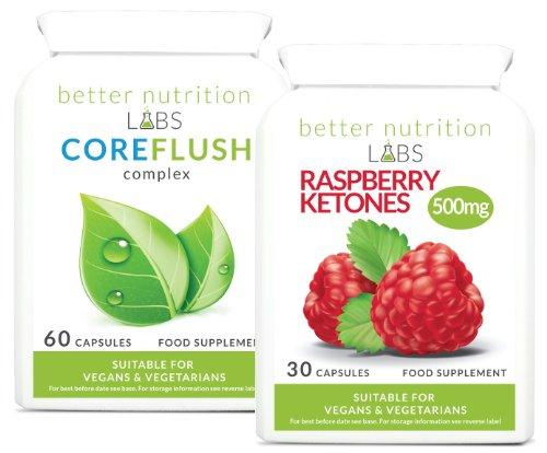 Cetonas de frambuesa Colon Cleanse Combo (Dieta Premium y Combo Detox) - de alta resistencia 500mg Pure Raspberry Ketone píldora diéteticas por Better Nutrition Labs