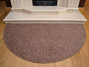 Brown Half Moon Rug. Size 70cm x 137cm from Rugs Supermarket