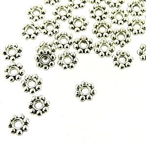 200 pcs Tibetan Silver Daisy Spacer Metal Beads 4mm