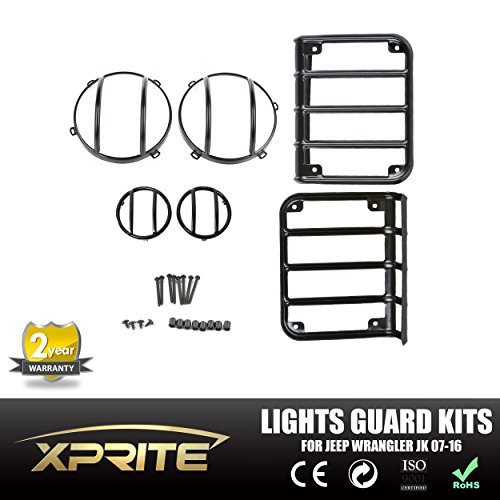 Xprite 2007 - 2016 Jeep Wrangler JK Black Light Guard 6 Pieces Kit For Front Headlights, Rear Taillights and Front Turn signal indicators (Wrangler Headlight Guards compare prices)
