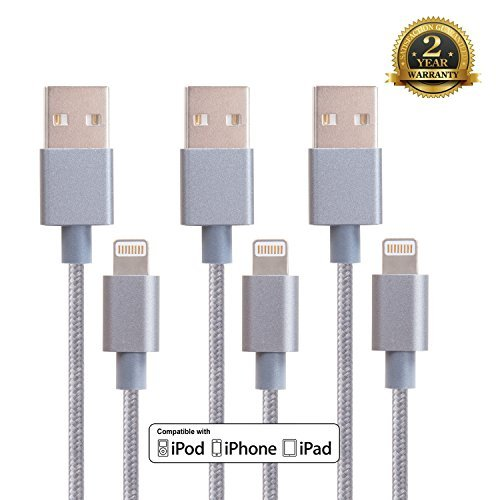 Purchase Adoric 3pcs 3ft Stylish Nylon Braided Lightning Cables for Iphone 6s/6s+ / 6 / 6 Plus / 5s ...