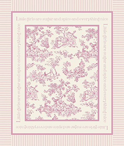 """Nursery Rhyme Toile 43/44"""" Wide 100% Cotton D/R-Toile Panel-Pink front-83198"""