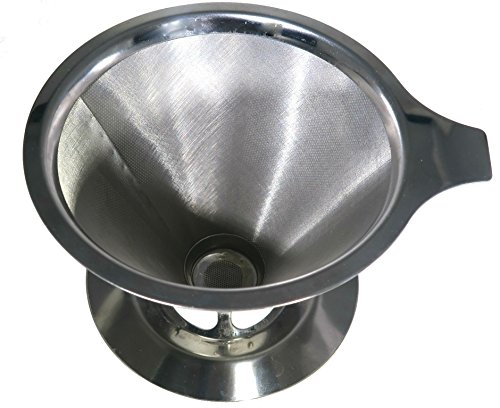 Barista Quality Pour Over Coffee Maker by Slimm Filter - Premium Stainless Steel Coffee Cone Filter - Hipster Approved (Porcelain Coffee Cone compare prices)
