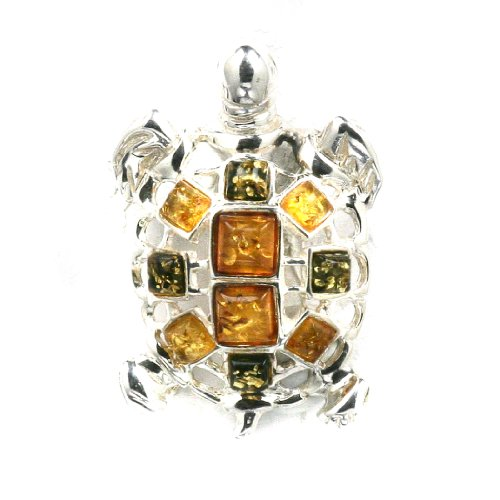 Multioclor Amber Sterling Silver Little Museum Collection Turtle Pin 19th Century