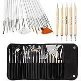 CellDeal 20pcs Nail Art Designing Painting Dotting Detailing Pen Brushes Bundle Tool Kit