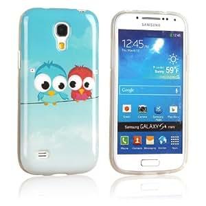 tinxi® Design Schutzhülle für Samsung Galaxy S4 mini Hülle TPU Silikon Rückschale Schutz Hülle Silicon Case mit zwei kleine Eulen Owl Muster
