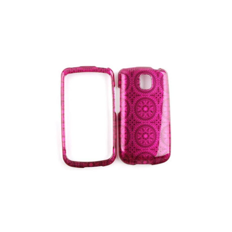 LG Optimus T P509 Transparent Design, Hot Pink Circular Patterns Hard Case/Cover/Faceplate/Snap On/Housing/Protector