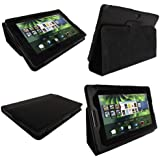 igadgitz Echt Leder Tasche Schutzhülle Etui Case Hülle in Schwarz für Blackberry Playbook Internet Tablet mit integriertem Stand + Displayschutzfolie