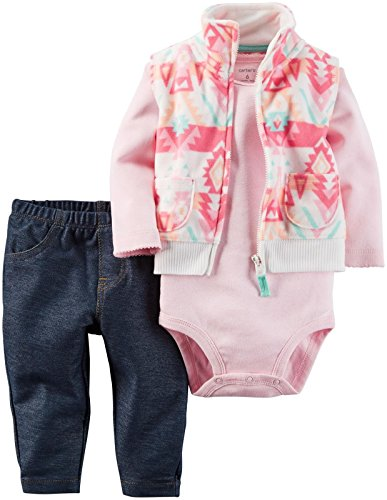 Carter's Baby Girls Vest Sets, Pink, 24 Months