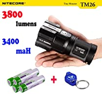 Nitecore Tiny Monster TM26 3800 Lumen Premium, with 4x Eagletac 3400 mAH 18650 Batteries and Lumentac keychain Light ,Quadray Rechargeable CREE XM-L2 LED FlashLight