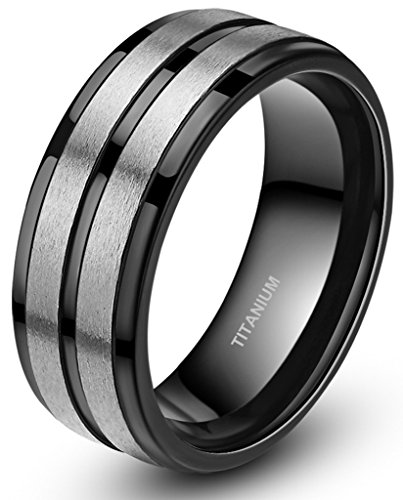 Two Tone Black Stripe Grooved Brushed Titanium Rings for Men Engagement Band 8mm (13) (Black Rings For Teens compare prices)