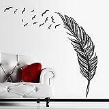 Ouneed® Wandaufkleber Wandtattoo Wandsticker , Neuer Wand Aufkleber Vögel Feder Schlafzimmer Abziehbild Wandkunst Dekor (schwarz)