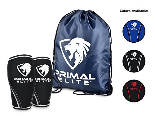 Knee Sleeves ( 1 Pair w/ bag ) Best Orthopedic Knee Support & Pain Compression Brace for Squats, Crossfit WOD, Weightlifting, Powerlifting - Primal Elite 7mm Strong Knee Sleeves - For Men & Women