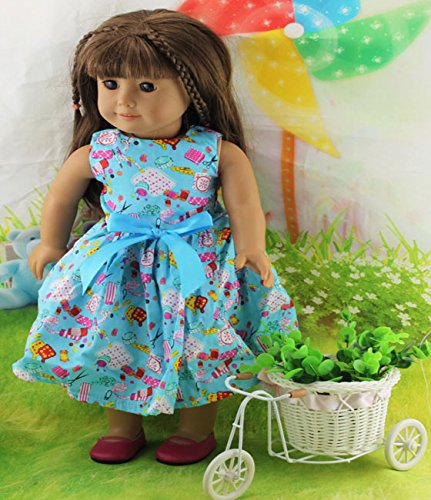 Teenitor(TM) Blue Dress With Bowknot Fits 18 Inch Girl Dolls (Shipping By FBA) - 1