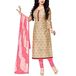 Apple Creation Beige Dress Material Suit with Matching Dupatta