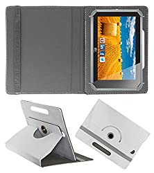 ACM ROTATING 360° LEATHER FLIP CASE FOR HCL ME CONNECT 3G 2.0 Y4 TABLET STAND COVER HOLDER WHITE