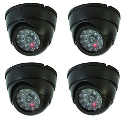 Texas Wholesale 4 Dummy Security Cameras Fake Dome Surveillance Cameras Simulated Infrared LEDs with Flashing Light