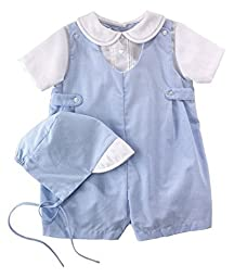 Petit Ami Baby Boy Blue Gingham Romper - Preemie & Newborn Sizes (Preemie)