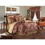 Croscill Home Fashions Mystique 4-Piece Comforter Set, Queen, Claret