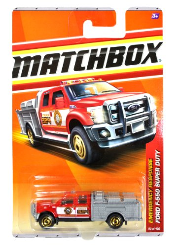 Matchbox 2010 MBX Emergency Response Series 1:64 Scale Die Cast Car #50 - MBX County Fire Brigade Pumper Unit Truck 324 Red Color FORD F-550 SUPER DUTY FIRE TRUCK