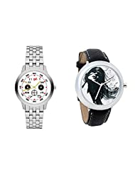 Gledati Men's White Dial And Foster's Women's Black Dial Analog Watch Combo_ADCOMB0001811