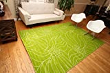 New City New Floral City Floral Contemporary Green and White Modern Area Rug 4'3 x 5'6