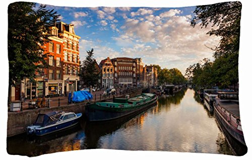 Microfiber Peach Queen Size Decorative Pillowcase -City Netherlands Amsterdam Nederland Amsterdam Channel Boat front-932835