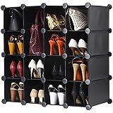 VonHaus 16x Interlocking Storage Shelves/Organizer. Make Any Shape or Size to Organize Shoes, Clothing, Toys, DVDs & more