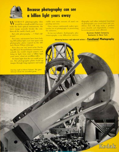 1949 Ad Eastman Kodak Palomar Observatory Hale Telescope Scientific Yellow Guest - Original Print Ad