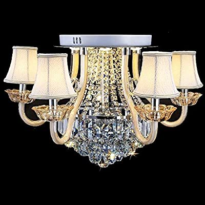 CHXDD Luxury 5 Lights Crystal Living Room Ceiling Lights Fixtures European Fabric Restaurant Ceiling Lamps Led Study Room Chandelier