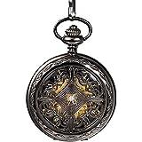 Mudder Hollow Golden Roman Numerals Scale Vintage Pocket Mechanical Watch with Chain Belt
