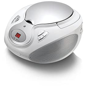 GPX, Inc.  Portable Top-Loading CD Boombox with AM/FM Radio and 3.5mm Line In for MP3 Device - White