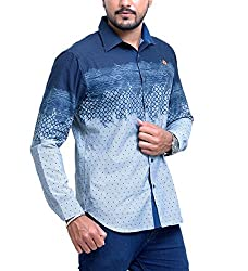 PP Shirts Men Cotton Casual Shirt ( Blue M )