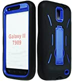 Bastex Hybrid Kickstand Case for Samsung Galaxy S II T989 (T-Mobile only) - Black Silicone Skin with Blue Hard Shell