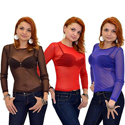 Damen Bluse transparent Chiffon Langarm Oberteil in vielen Farben B11