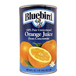 Bluebird  Unsweetened Orange Juice, 46-Ounce Cans (Pack of 12)