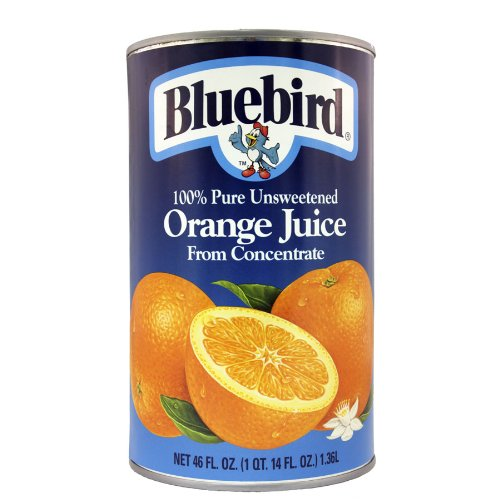 Bluebird  Unsweetened Orange Juice, 46-Ounce Cans (Pack of 12) (Can Orange Juice compare prices)