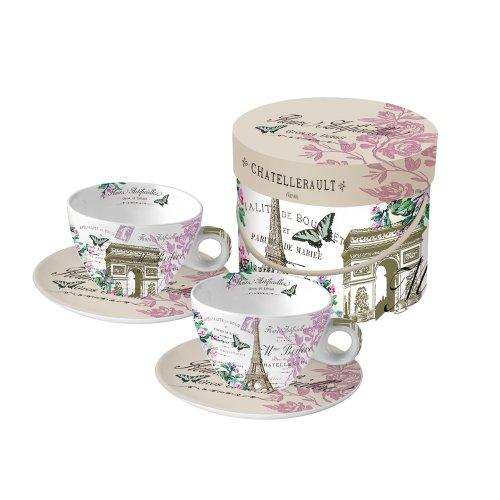 Paperproducts Design Gift Box Cups And Saucers, 11-Ounce, La Tour De Paris, Set Of 2