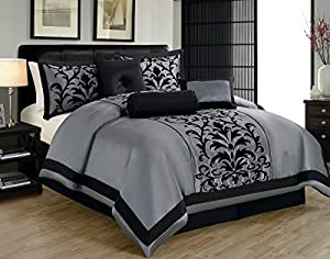 1kidandaheadache's 8 Piece King Dawson Donna Black and Grey Gray Silver Comforter Set Bed in a Bag