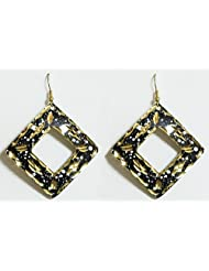 Black With Golden Metal Earrings - Metal