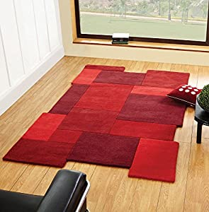 Abstract Collage Red Stone Beige Rugs Retro Modern Funky Thick Wool Cheap Affordable Rug from Flair Rugs