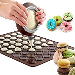 Safstar Silicone Macaron Baking Mold Set with Decoration Pen Set Butter Squeezer Baking Tool Mould Kit