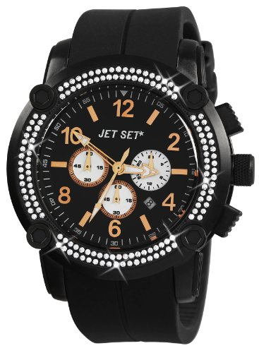 Jet Set J3873B-267 - Reloj cronógrafo de cuarzo unisex, correa de caucho color negro