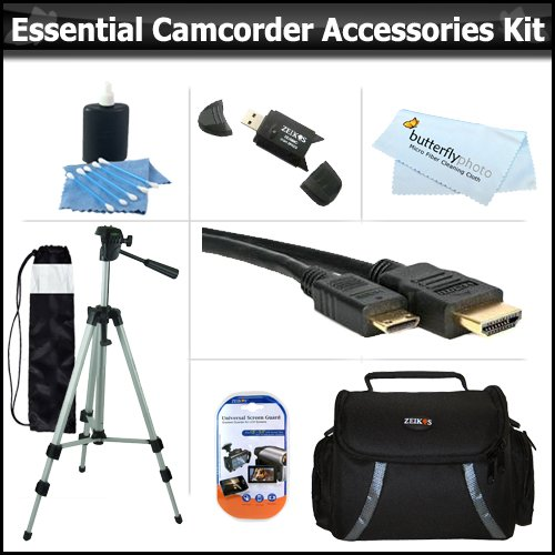 Essential Accessory Kit For Jvc Gz-Hm670 Gz-Hm450 Gz-Hm440 Gs-Td1B Gz-Hd520 Gz-Hm30 Gz-Hm50 Gz-Hm650 Gz-Hm690 Gz-Hm860 Gz-Hm960 Hd Everio Camcorder Includes 50 Tripod + Deluxe Case + Mini Hdmi Cable + Lens Cleaning Kit + Screen Protectors + More