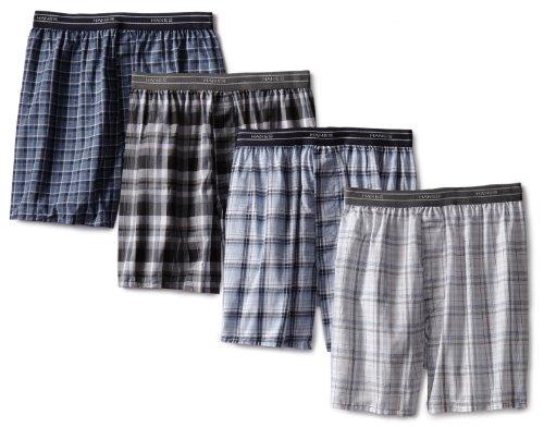 Hanes 4 Pack Yarn Dye Woven Boxer Short Black/Blues Assorted Large man panties