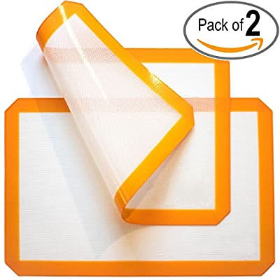 Kicode - 2x Silicone Baking Mat - Healthy Cooking - Food-Safe Certified - Oven Tray Liners and Cookie Sheets - Reusable