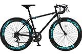 NEXTYLE(ネクスタイル) SHIMANO(シマノ) ロードバイク ロードレーサー 男女兼用(初心者対応 身長160cm以上 サイズ440mm) 7段変速 RNX-7007(ブラック)